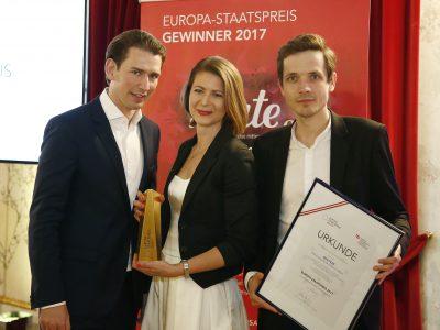 Europa Staatspreis Verleihung, Mai 2017. Bundesminister Sebastian Kurz, Katharina Moser, Stefan Apfl. © Dragan Tatic